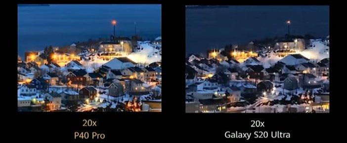 20x увеличение камера P40 Pro в сравнении с S20 Plus
