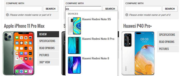 Сравнение смартфонов с помощью сайта GSMArena