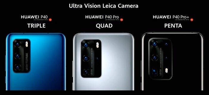 Блоки камер Huawei P40, P40 Pro и P40 Pro+ рядом друг с другом
