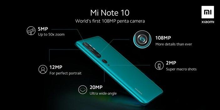 Назначение всех 5 камер в Mi Note 10