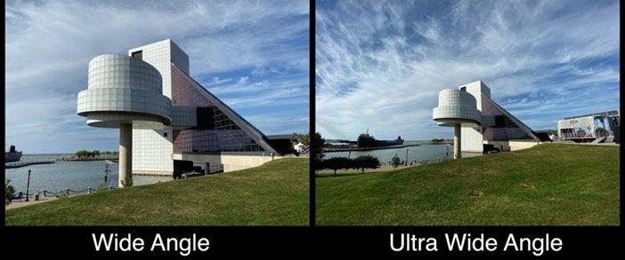 Разница между обычной и сверхширокоугольной камерой